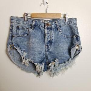 One Teaspoon Bandits Cut Off Denim Shorts Blue 26
